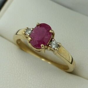 9ct Yellow Gold Ruby & Diamond 3 Stone Ring, Finger Size N