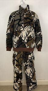 LL Bean Men 1/2 Zip Pullover Jacket Pants Set Size L White Brown Camo Fleece USA