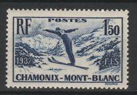 FRANCOBOLLI - 1937 FRANCIA SCI A CHAMONIX F. 1,50 MNH E/1501