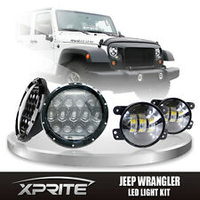 "Xprite 7"" 75W CREE LED Headlights DRL w/ Fog Light Combo For 07-17 Jeep Wrangler"