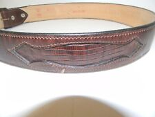 Men's Leather Belt Genuine Lizard and Brown Leather Size 36