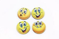 Smiley Wood Button Yellow Face Children Sweater Thin Natural Wood 24mm 100pcs