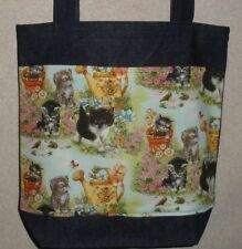 NEW Handmade Medium Whimsical Garden Kitten Pets Denim Tote Bag Gift