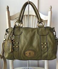 FOSSIL Grayson Green Olive Pebbled Leather Satchel Crossbody Shoulder Bag $168