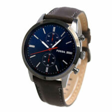 NWT Men's Fossil Townsman 44mm Dark Brown Leather Chronograph Watch FS5378