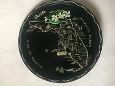 "Vintage Round Black Gold Florida State Souvenir Black Tin Tray Plate 11"" Across"