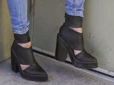 Jeffrey Campbell feria  black washed cut out open distressed boot 8.5M