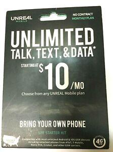 New UNREAL Mobile - SIM Starter Kit 4G LTE 3-in-1 SIM Kit
