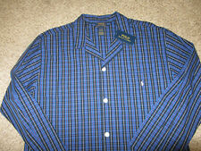 NWT NEW Polo Ralph Lauren Royal Blue Black Plaid Pajama Sleep Shirt XL Cotton