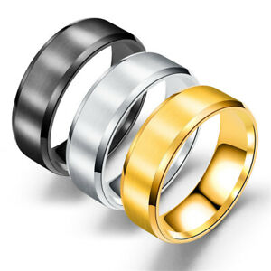 Couple Stainless Steel Gold Silver Black Ring Men Women Wedding Band Rings New