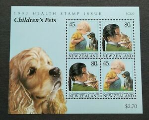 1993 New Zealand Health Issue - Children's Pets Miniature Sheet Stamp MS Mint NH