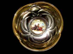 """EXTREMELY NICE  """"CHINELLI""""  ITALY BOWL, SILVER 925 VICTORIAN LITHO INLAY!!!"""