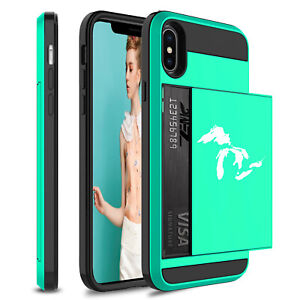 For Apple iPhone Shockproof Wallet Credit Card Hard Case Great Lakes Michigan