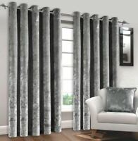 5 *Curtains Crushed Velvet Pair Fully Lined Eyelet Ring Top Curtains Ready Made
