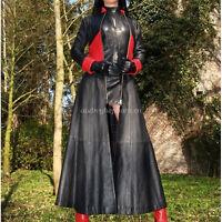 100% Latex Rubber 0.6mm Women Handsame Long Windbreaker Coat Red Size XXS-XXL