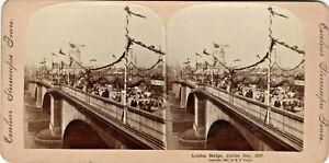 Stereo Card London Bridge Queen Victoria Diamond Jubilee Day 1897 M E Wright