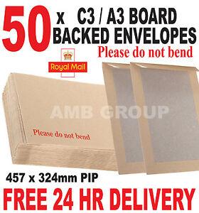 50 x C3 / A3 HARD BOARD BACKED PREMIUM ENVELOPES 457 x 324mm PIP