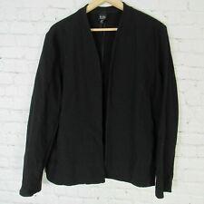 Eileen Fisher Large Jacket Womens Black Wool Blend Open Front Blazer