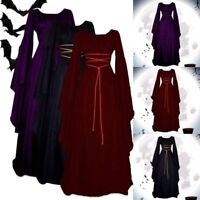 Women Gothic Witch Victorian Renaissance Medieval Maxi Dress Cosplay Costume US