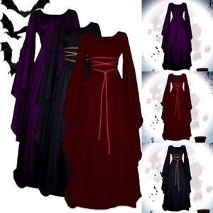 Retro Women Renaissance Medieval Fancy Dress Halloween Cosplay Gothic Witch Gown