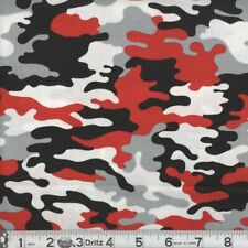 Military Camouflage Red & Gray 100% Cotton Fabric 1/4 yard good 4 Face Mask