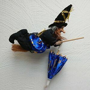 Hexe auf Besen mit Schirm zum aufhängen 26 cm - Flughexe Flugbesen Dekohexe