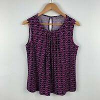 Jacqui E Womens Blouse Top Size Small Pink Abstract Sleeveless