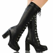 Womens Ladies Chunky Block Heel Sole Lace Up Goth Punk Knee High Biker Boots