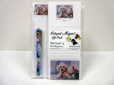 White Poodle in Flowers List Pad Note Pad Magnet Pen Stationery Gift Pack POD-16