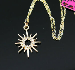 New Pendant Fashion Betsey Johnson Rhinestone sun Gold Necklace Women Gift
