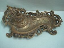 Antique ink well inkstand  in bronze with a face and with  container VA Portugal