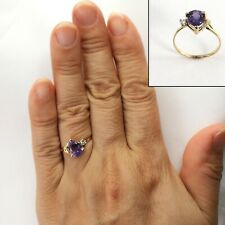 Pear Shaped Genuine Amethyst & Diamond 14k Yellow Gold Ring TPJ