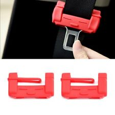 Red Auto Car Seat Belt Adjuster Safety Buckle Anti-Scratch Protection Soft Case