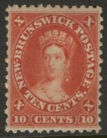 NEW BRUNSWICK 9 1860 FIRST CENTS 10c VERMILLION QUEEN VICTORIA MPH VF CV$75+