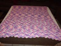"""Vintage Handmade Afghan Crochet Throw Blanket 58"""" X 48"""""""