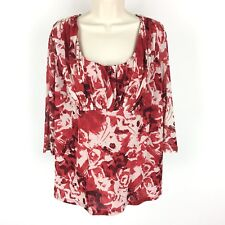 Madison Woman Shirt Red Nylon Sheer 3/4 Sleeve Floral Scoop Neck Plus Size 2X