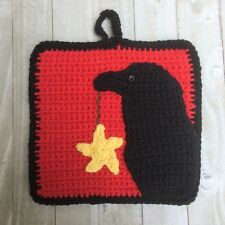 "Crow Potholder Crochet Kit 8"" Everything you need, intermediate"