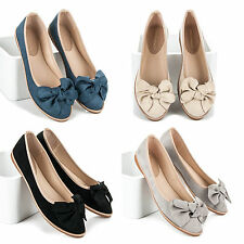 Women Flat Slip On Ballerinas With Bows Summer Shoes Size
