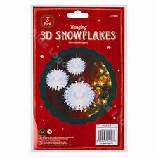 Set of 3 White 3d Hanging Paper Snowflakes Christmas Decorations 28cm Diam
