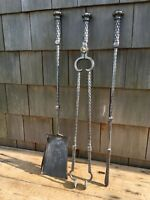Fine Antique Arts & Crafts / Cotswolds school polished wrought iron fire irons