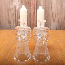2 Avon Glowing Angel Taper Candleholders Lead Crystal