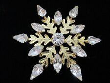 VTG ESTATE GOLD TONE RHINESTONE SNOWFLAKE BROOCH/PIN ~Oak Leaves