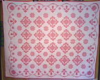 CLASSIC BRIGHT RED AND WHITE QUILT ANTIQUE CROSS STITCH 1940S