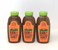 Lot of (3) Nature Nates 100% Pure ORGANIC Raw & Unfiltered Honey 16oz ea (Z5)