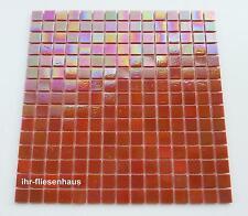 Glasmosaik - Mosaik Matte auf Netz Metallic-Orange 32,7x32,7cm; Steinchen 2x2cm