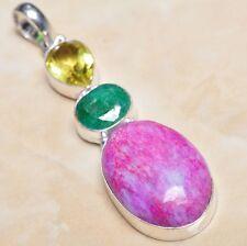"Handmade Cherry Ruby Natural Gemstone 925 Sterling Silver Pendant 2.75"" #P03905"