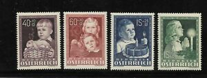 Austria Scott #B260-#B263 mint hinged 1949 Semi-Postal set for Child Welfare og