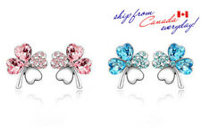 Adorable 18K GP 2 Colors Cubic Zirconia Clover Stud Earring/Blue/Pink