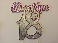 Personalised 18th Birthday cake topper, 2 layers of glitter, many colours