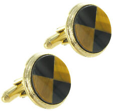 Cufflinks Mens Round Inlaid Genuine Tigers Eye Black Onyx Gold Tone
